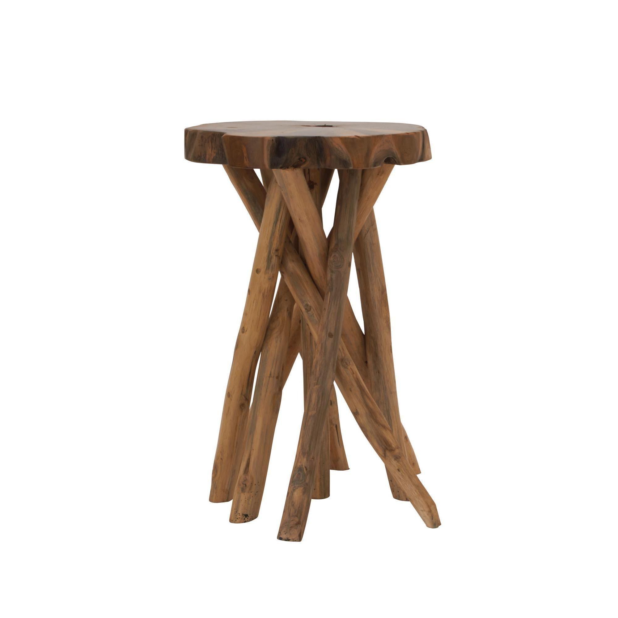Distinctive Teak Wood Stool 18 Inch Wide X 22 High