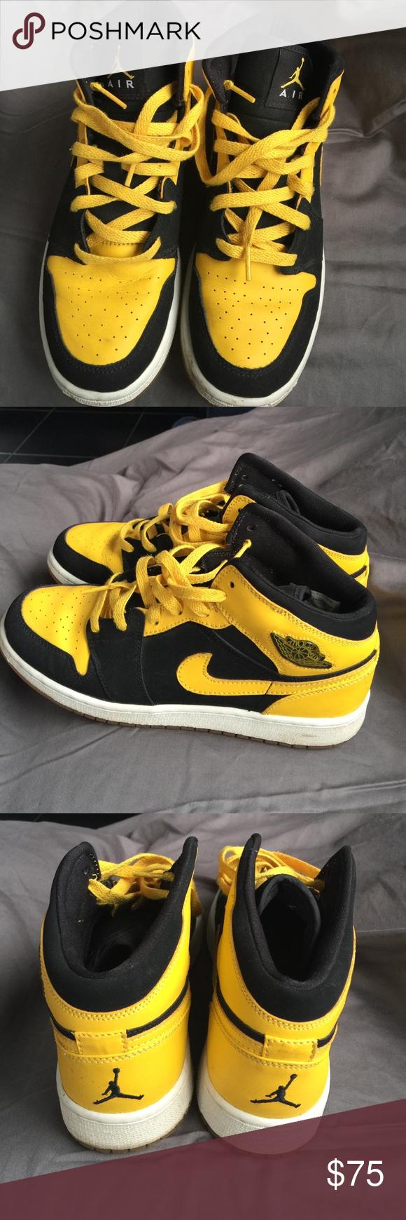 b9116745a8d8e Retro Air Jordan 1 Used Black and Yellow Air Jordan Retro 1 Jordan Shoes  Sneakers