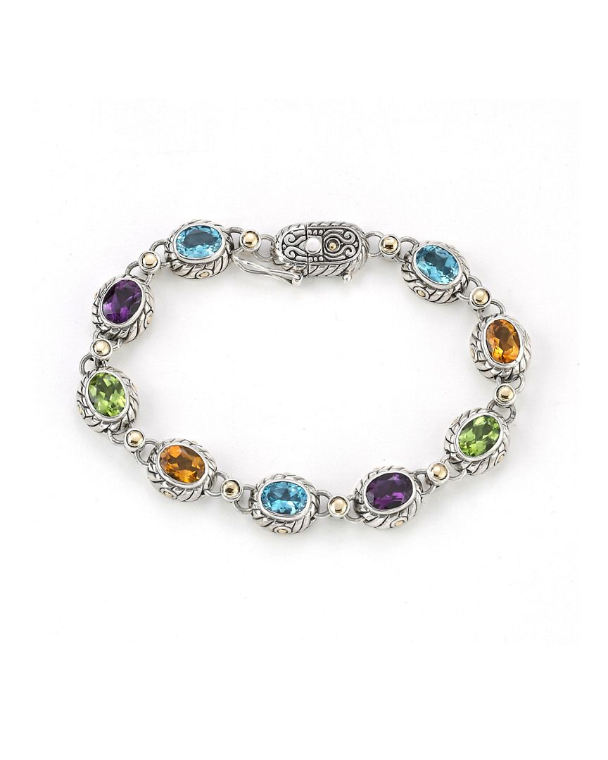Samuel B. 18K & Silver 12.65 ct. tw. Gemstone Bracelet