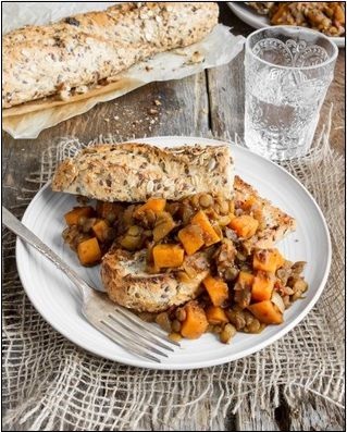 Maple Baked Lentils with Sweet Potato