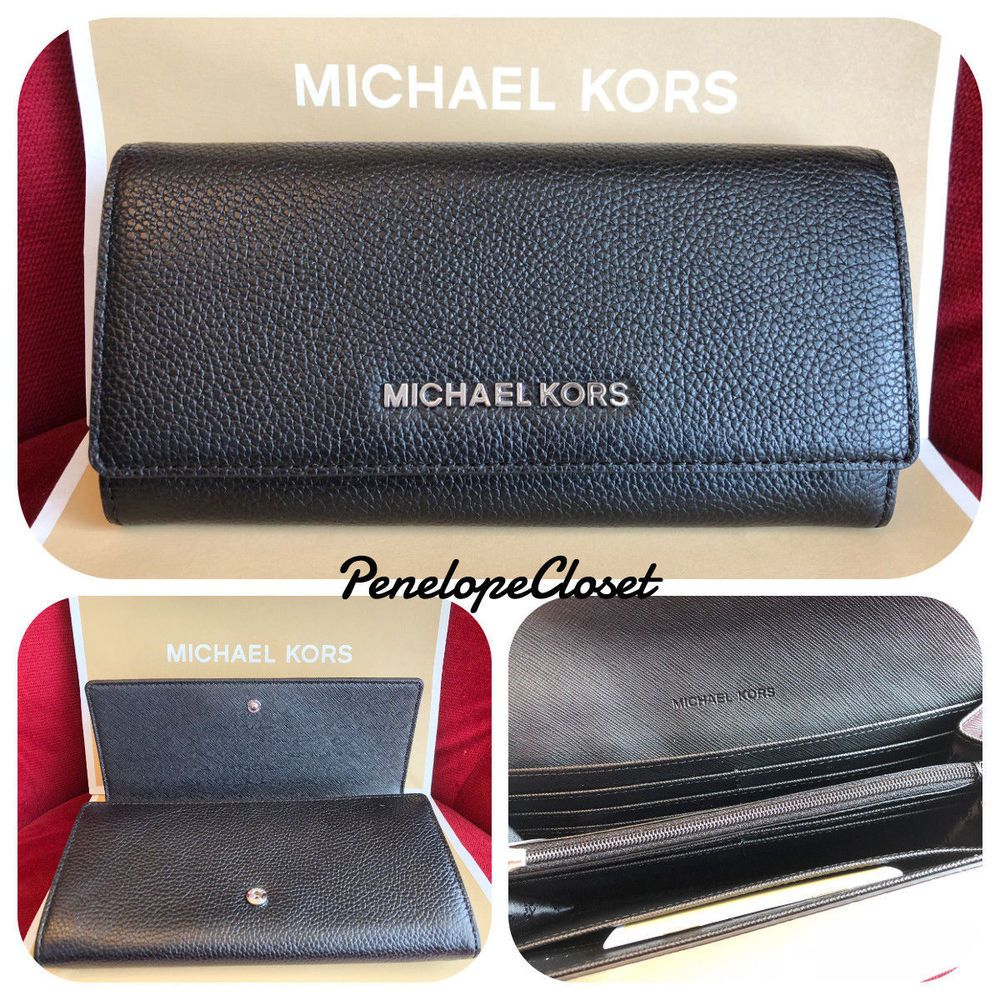 4295d00a66a0 NWT MICHAEL KORS PEBBLED LEATHER JET SET TRAVEL CARRYALL FLAP WALLET IN  BLACK