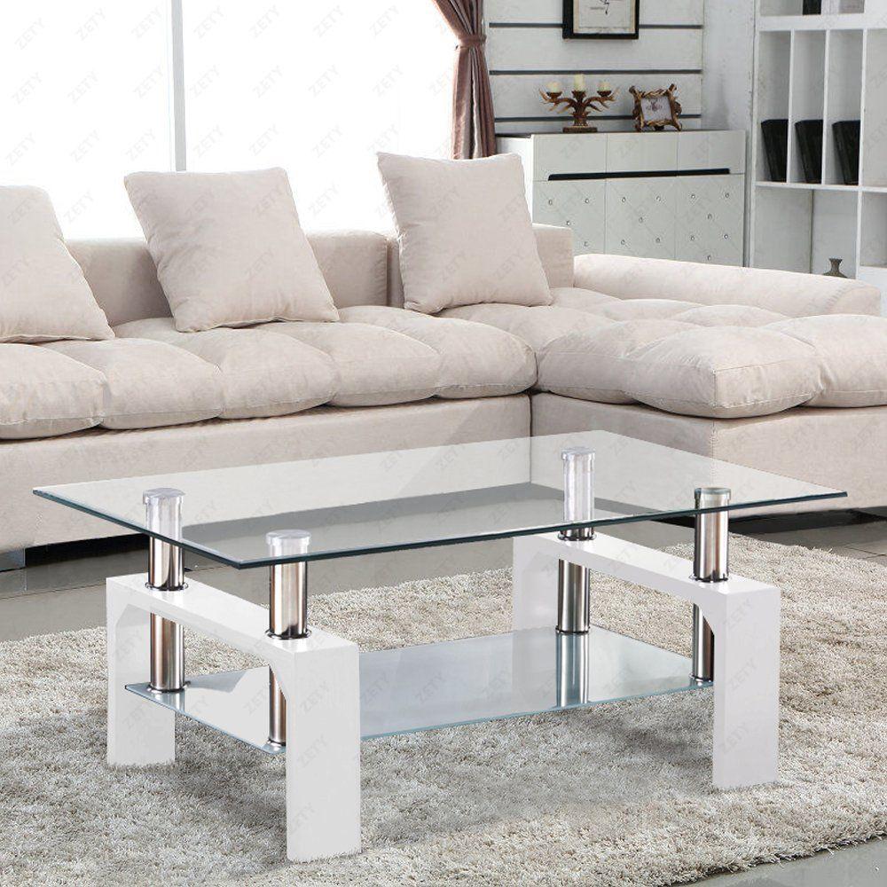 SUNCOO Rectangular Glass Coffee Table Shelf Chrome White Wood Living ...