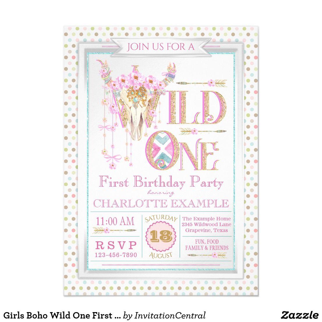 Girls Boho Wild One First Birthday Invitations | Invitations ...