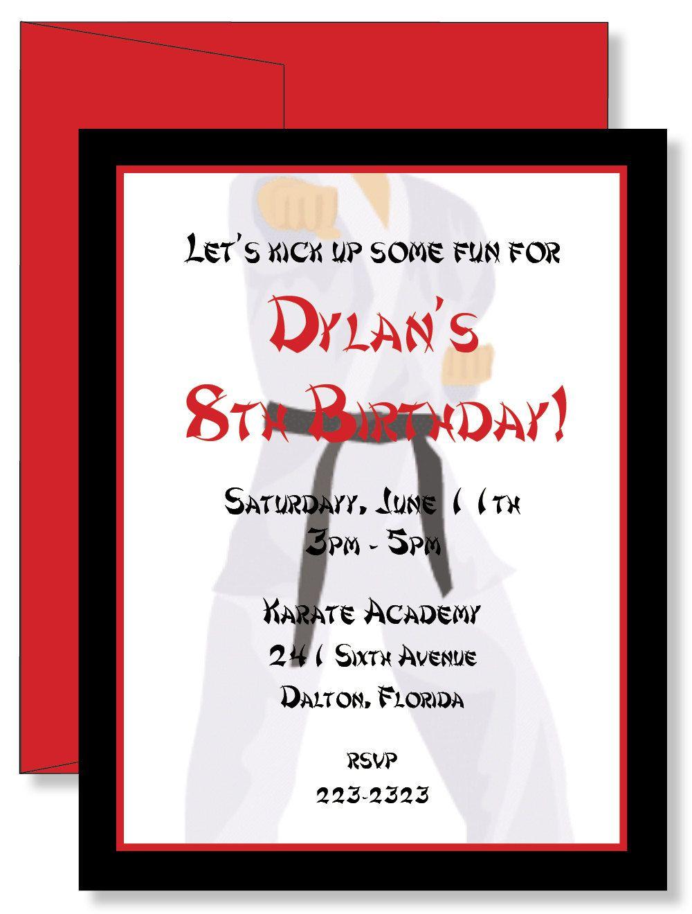 12 Custom Personalized Karate Birthday Party Invitations. $11.00 ...