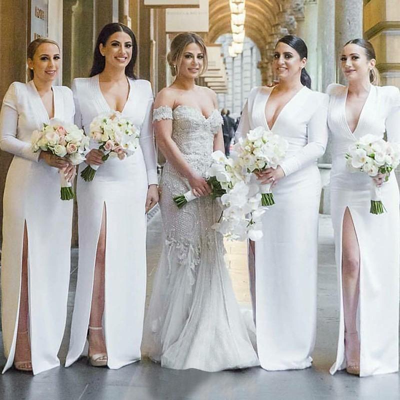 Mermaid Deep V Neck Long Sleeves White Bridesmaid Dresses With Split Typ1471 White Bridesmaid Dresses Wedding Bridesmaid Dresses White Bridesmaid Dresses Long