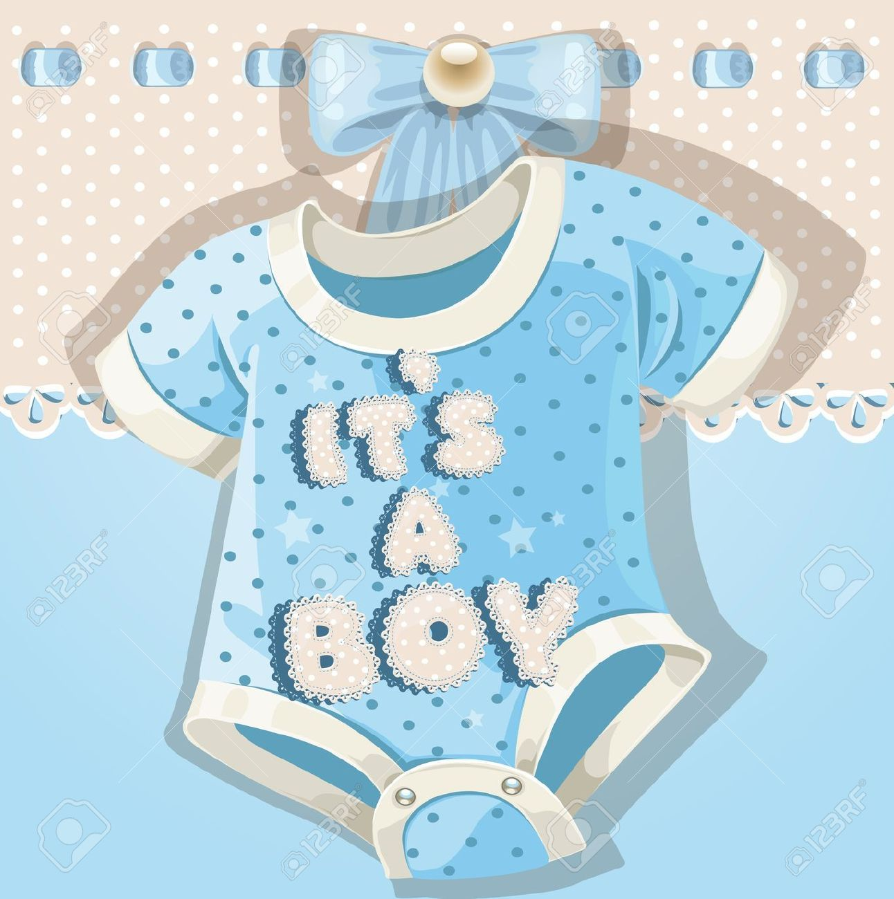 15113402 Baby Shower Blue Card With Baby Shoes