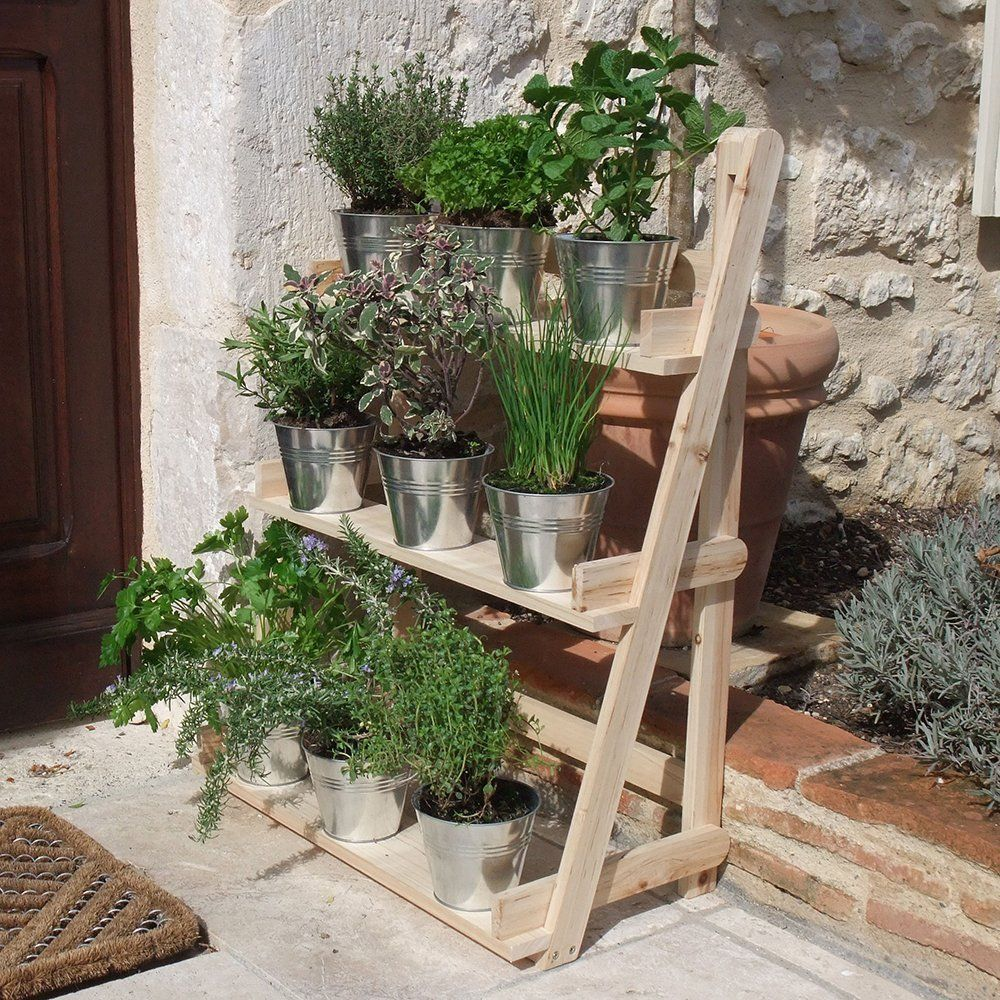 3 tier wooden flower stand herb plant pot shelves garden for Herb stand ideas