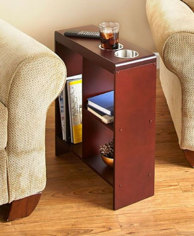Narrow End Table Drink Holder Slim Sofa Side Shelf Storage
