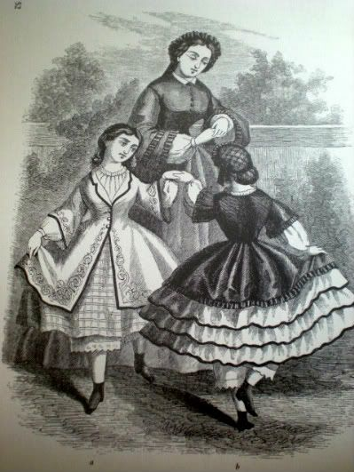Little Girls' Dresses May 1863 from Fashions and Costumes from Godey's Lady's Book edited with an introduction by Stella Blum