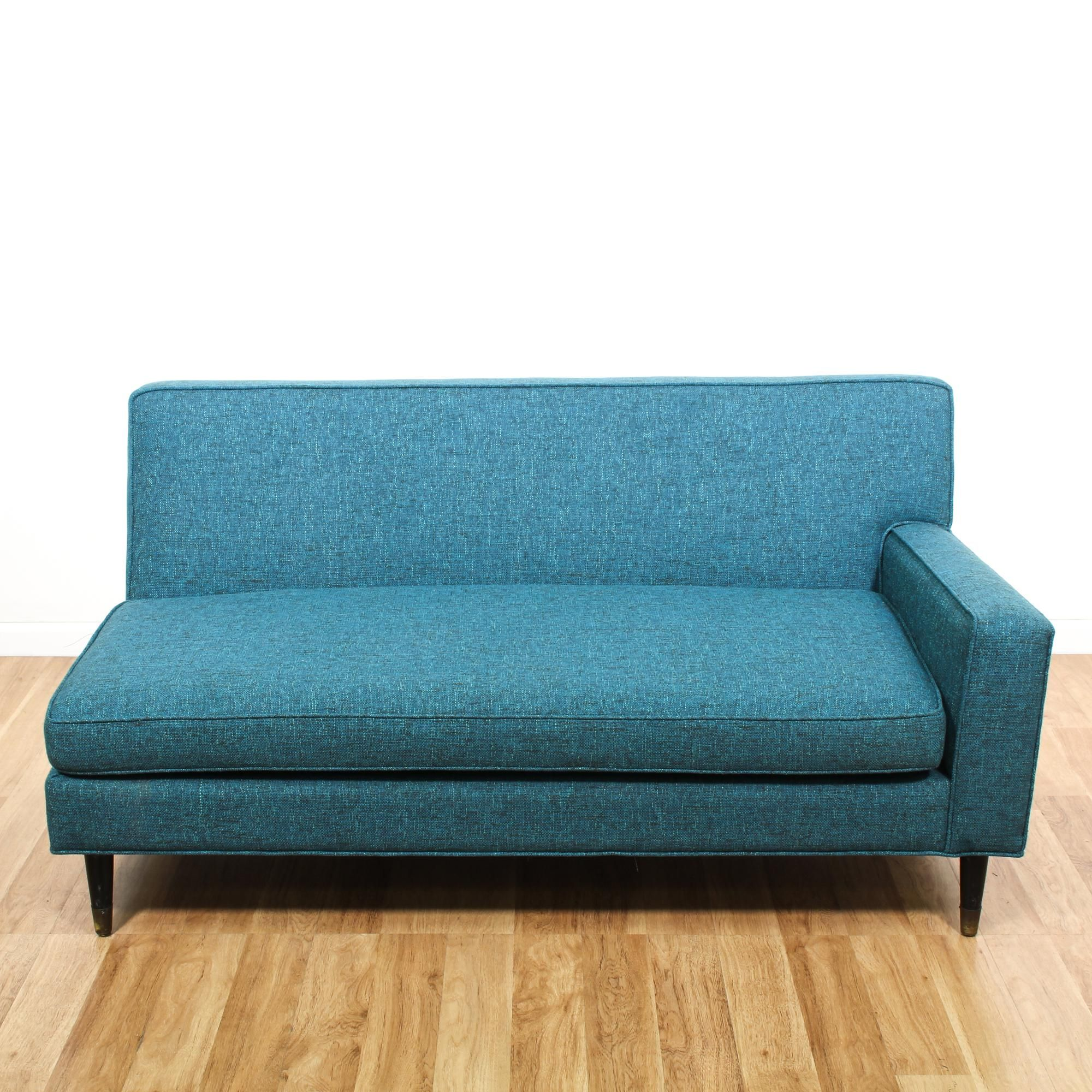 Newly Reupholstered Blue Mid Century Modern Sofa 2