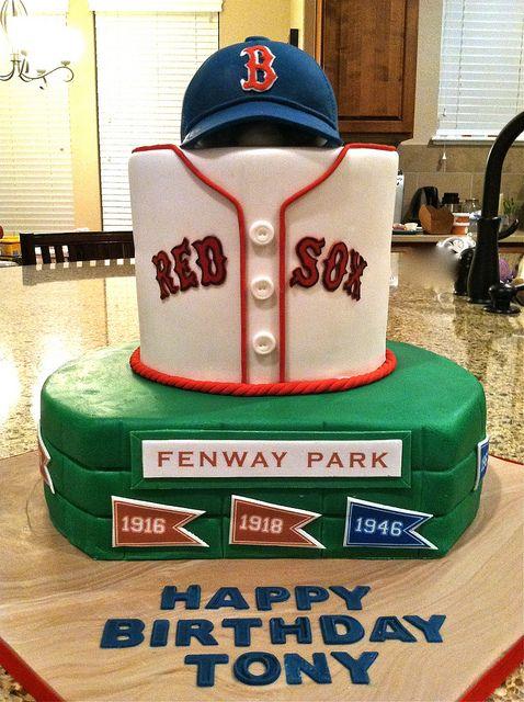 Terrific Boston Red Sox Birthday Cake With Images Boston Red Sox Cake Funny Birthday Cards Online Inifodamsfinfo