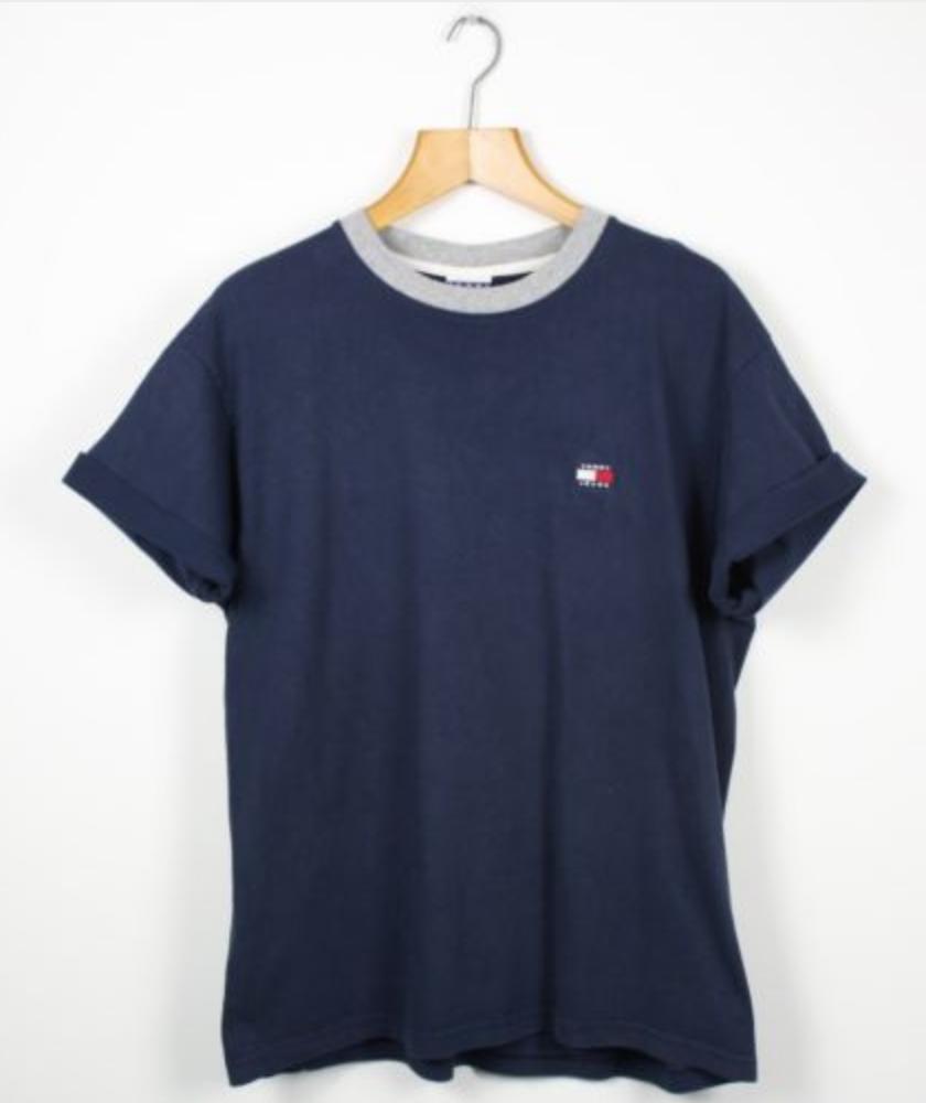 76efbe4c439c47 FOR SALE  Vintage TOMMY HILFIGER Jeans Navy Blue T Shirt Tee