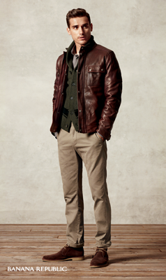 """""""a refined leather jacket makes everything cooler over a"""