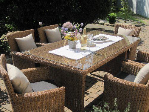 Sitzgruppe Garten Garnitur Tisch und 6 Sessel   Stühle Rattan - gartenmobel set polyrattan braun