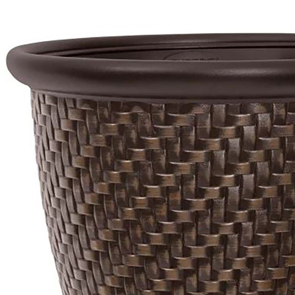 Suncast 1807j4 18 X 16 5 Inch Wicker Resin Dirt Pot Garden Planter Dark Brown Resin Wicker Wicker Planter Suncast Planters