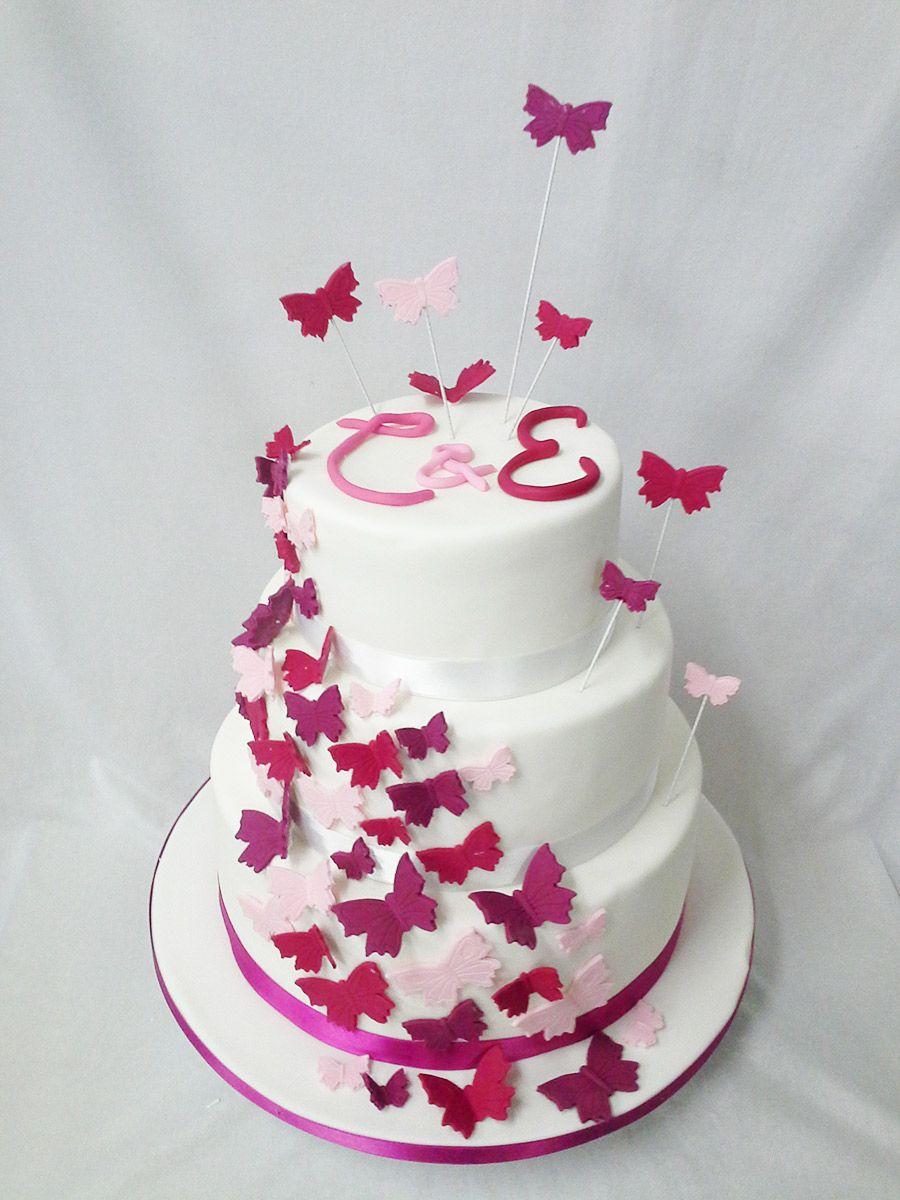 Hochzeit Schmetterlinge Schwarm Fondant Torten Hochzeitstorte