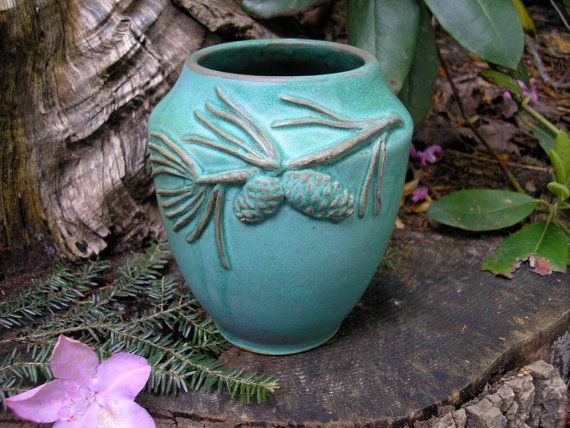 Scotch Pine Vase in verdigris  glaze Arts and Crafts style, mission style, handmade pottery, functional. $65.00, via Etsy.