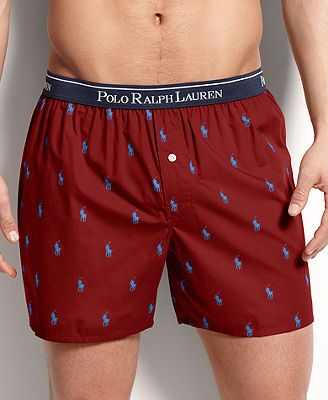 Polo Ralph Lauren Men's Underwear, Elastic Waistband Polo Player Boxer