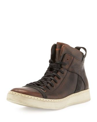 Burnished Leather High-Top, Brown by John Varvatos at Bergdorf Goodman.