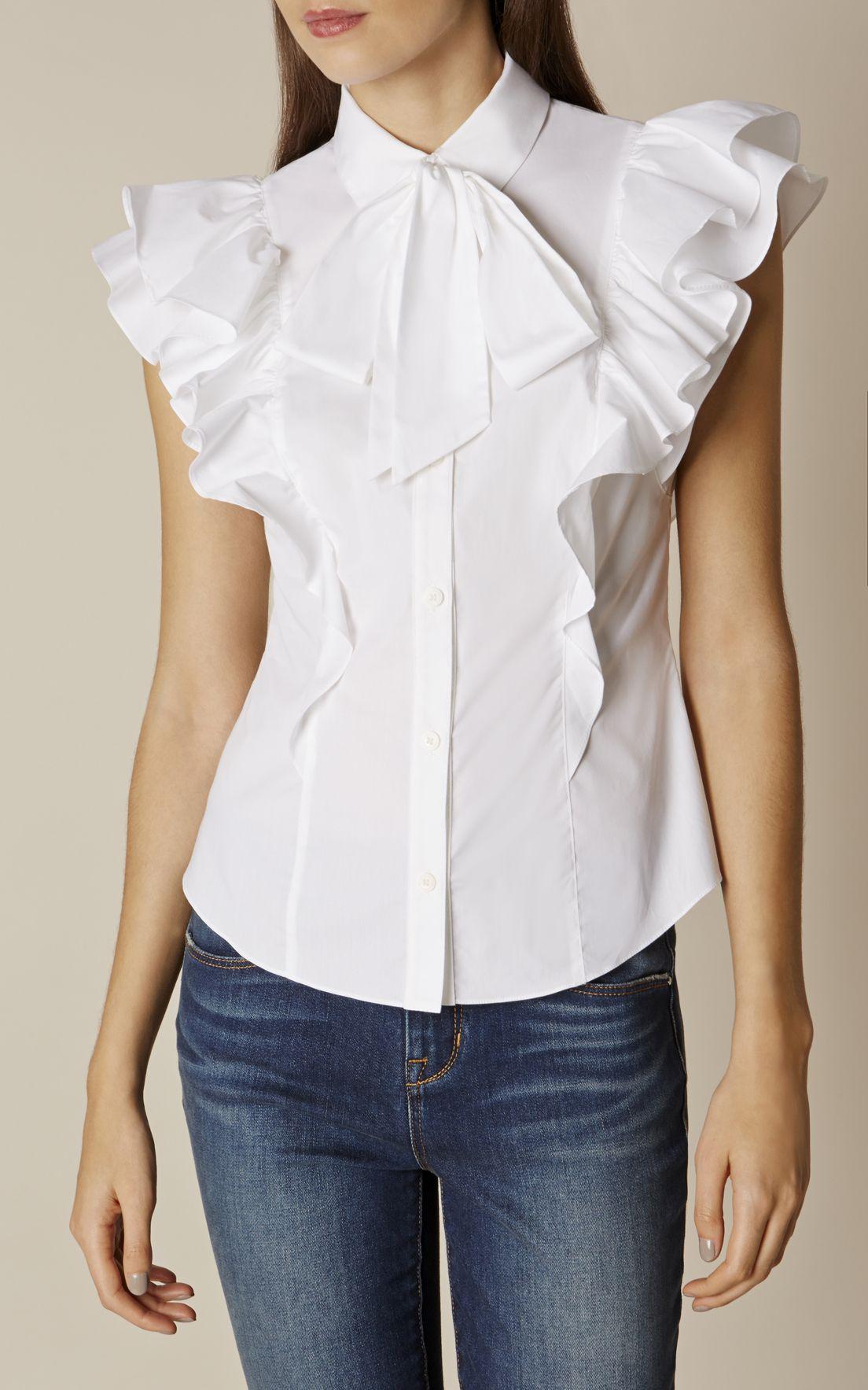 4c07a412b78daf Karen Millen, THE SUPER FRILL SHIRT White | Shirt/Top | Frill shirt ...