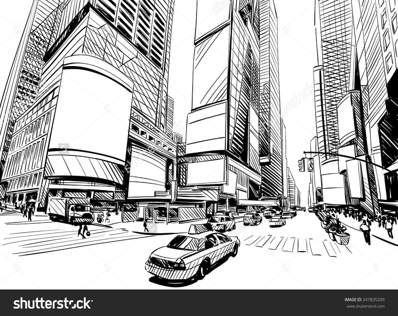 City Hand Drawn Unique Perspectives, Vector Illustration ...