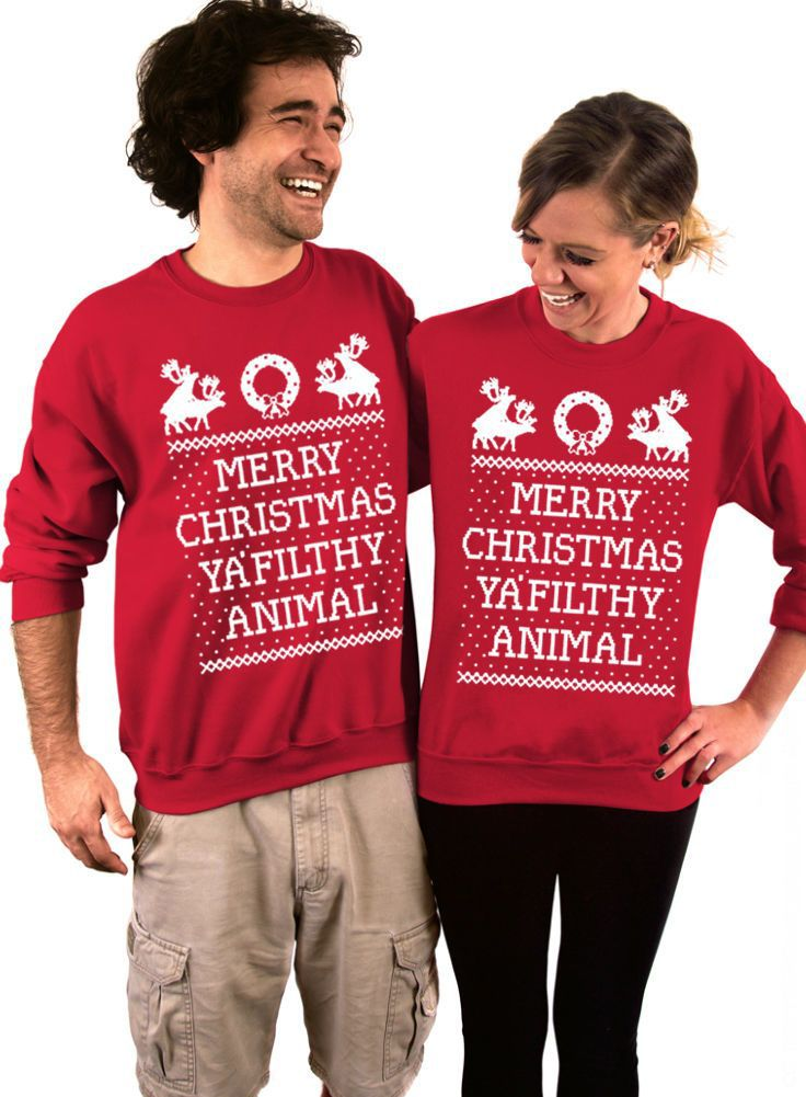 funny couple christmas shirts red cheap christmas sweaters hoodies merry christmas ya filthy animals