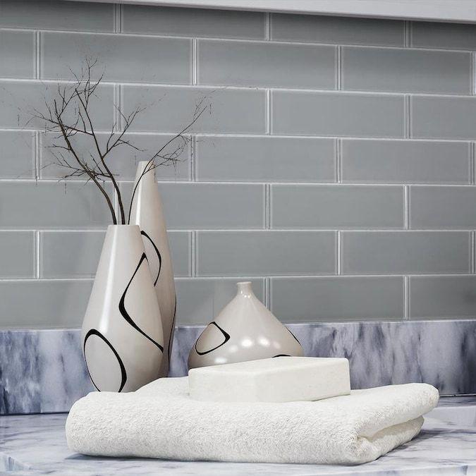 gray subway tile backsplash