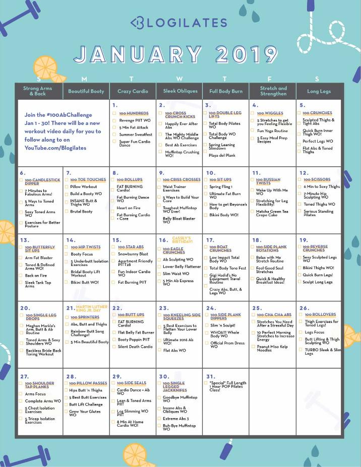 January Blogilates Calendar 2019 Your January Workout Calendar! | Let's Get Healthy | Workout