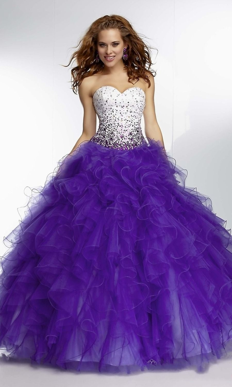 Newest Design Sweetheart Purple Red Prom Dresses Tiered Ruffles ...
