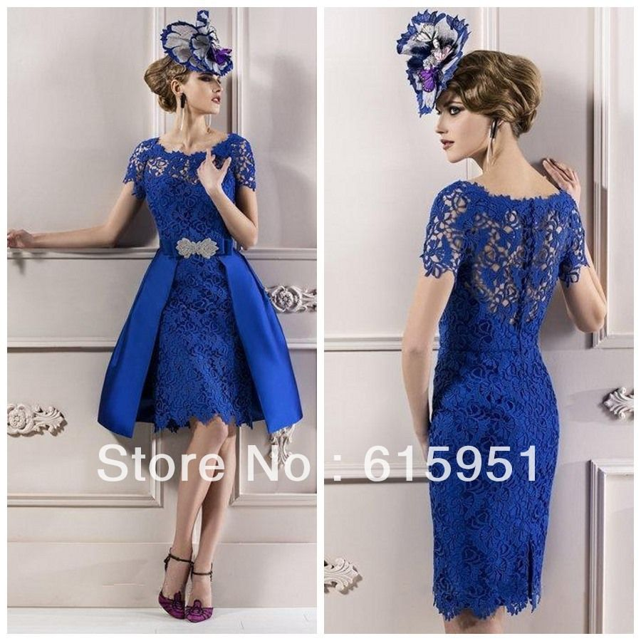 Cheapest Modest Custom made 2014 Elegant Mother Lace Royal Blue Short Sleeves Evening Dress/ Mother of the bride Dresses JY1006-in Mother of...