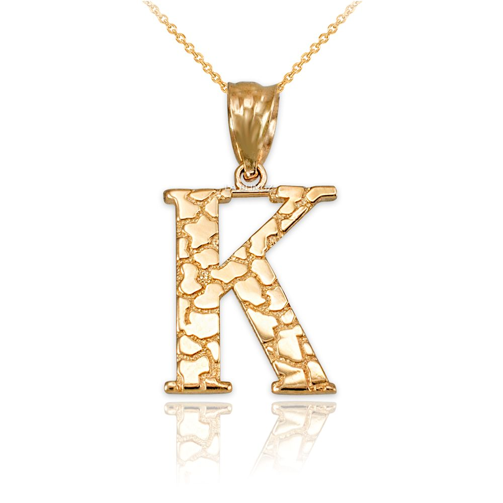 LA BLINGZ 10K Yellow Gold Nugget Initial Letter C Necklace