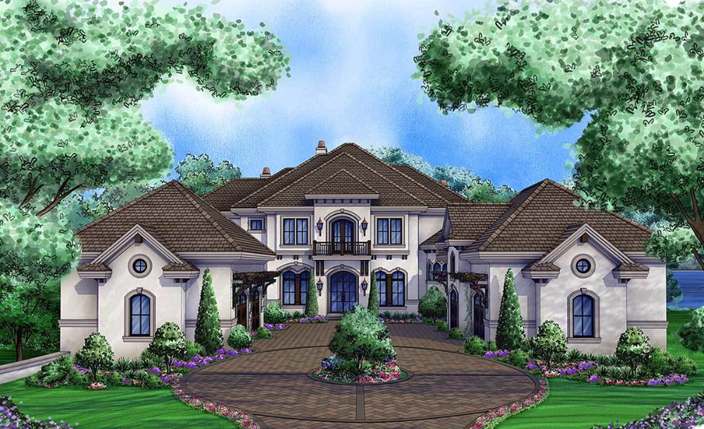 Plan 66376we Luxury Tuscan Home With 3 Living Levels Mediterranean Style House Plans Tuscan House Plans Luxury House Plans