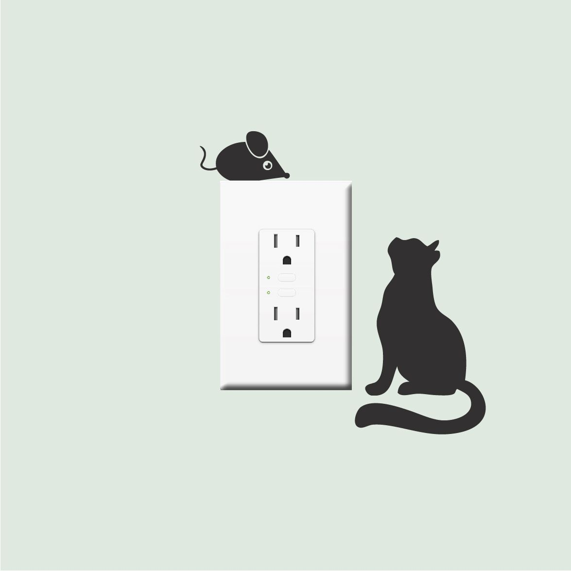 Cat And Mouse Vinyl Decal Stickers Vinyl Wall Stickers For - Vinyl decal cat pinterest