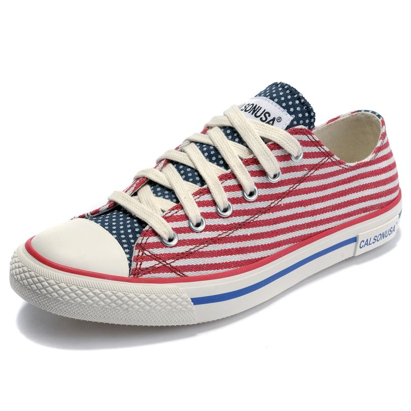 2013 Summer Calsonusa Brand Womens Canvas Shoes Low American Flag Stripe Casual Flats New Trend Sneakers on AliExpress.com. $18.00