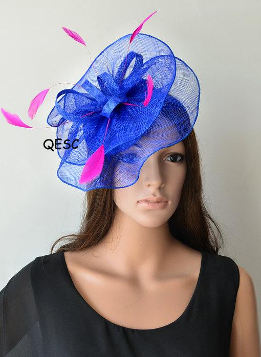 a5c51c1de60f9 Cobalt blue fascinator royal hot pink fuschia sinamay by QESC ...