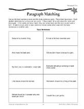 4th Grade Paragraph Matching For Topic Sentences Activity With