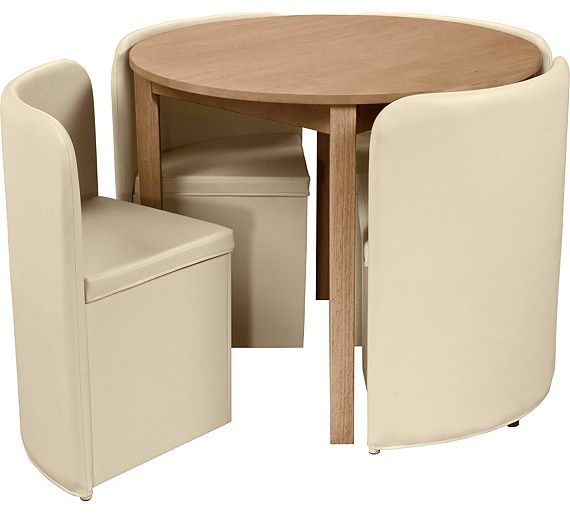 Buy Hygena Wooden Space Saver Table and 4 Chairs Cream at Argos