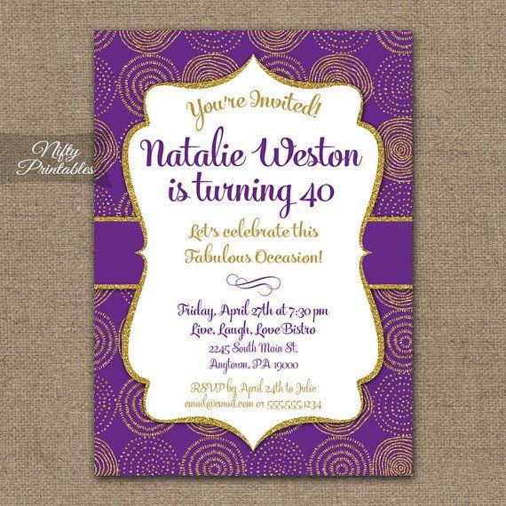 Purple Gold Birthday Invitation 30th 35th 40th 45th 50th 55th 60th 65th 70th 80th Printable Invites