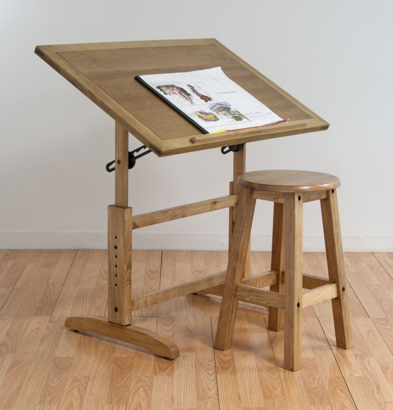 New Adjustable Drafting Wood Table Stool Drawing Studio Architect Station Desk Ebay Drawing Table Wood Drafting Table Table Stool