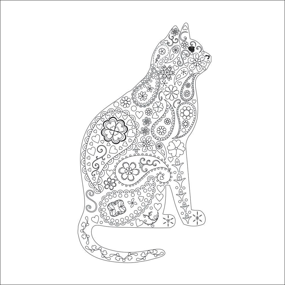 Cat Kitten Adult Coloring Page Instant Pdf Digital Download