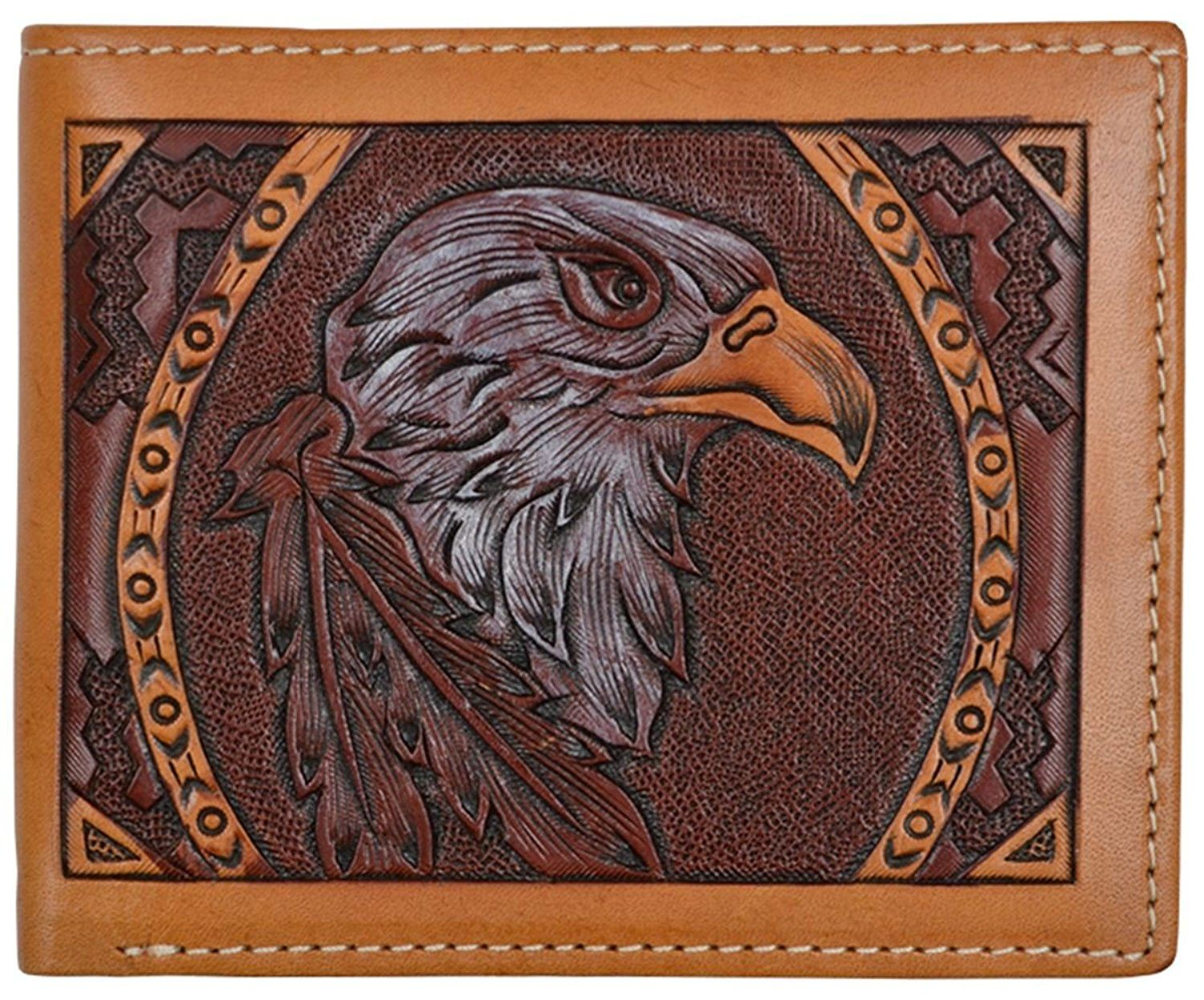 ab7471e734cd 3D Tan Leather Bifold Wallet Eagle Hand Tooled -- Want to know more ...