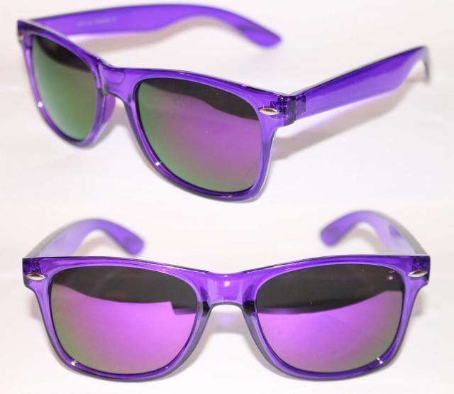 a0345f8ccd5 Wayfarer Sunglasses Crystal Purple Clear Frame Purple Mirror Shades ...
