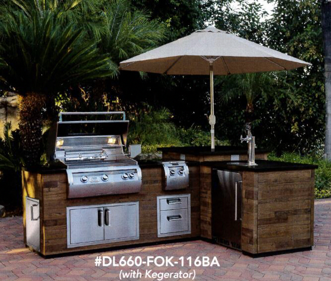 Fire Magic Dl660 Sp 116ba Finished Grfc L Shaped Silver Pine Reclaimed Wood Style Black Lava Counter Prefab Outdoor Kitchen Island With Appliance Options Outdoor Kitchen Island Prefab Outdoor Kitchen Outdoor Kitchen