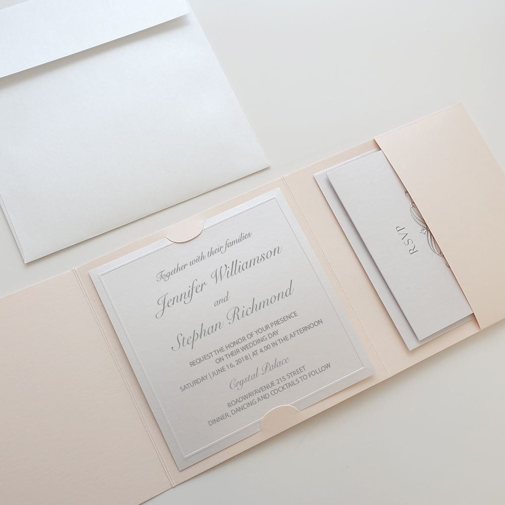 Pink & Silver Wedding Invitations These pink & silver wedding ...