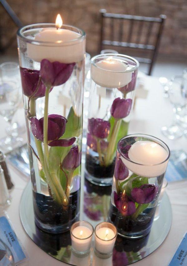 Tischdeko mit Tulpen - festliche Tischdeko Ideen mit Frühligsblumen #potteryideas