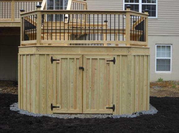 Under deck storage design deck porch screen room for Garage under deck
