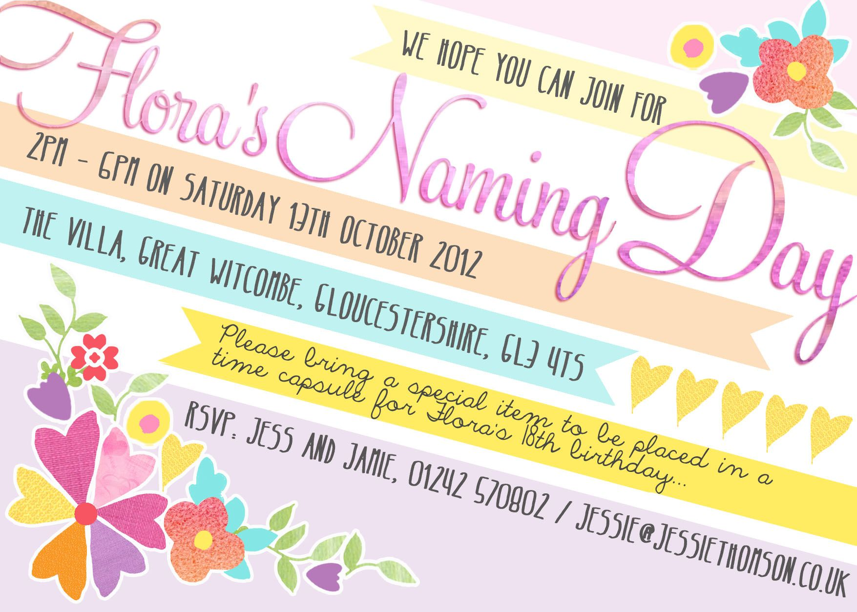 FloraS Naming Day Invitation By In The Treehouse  Naming