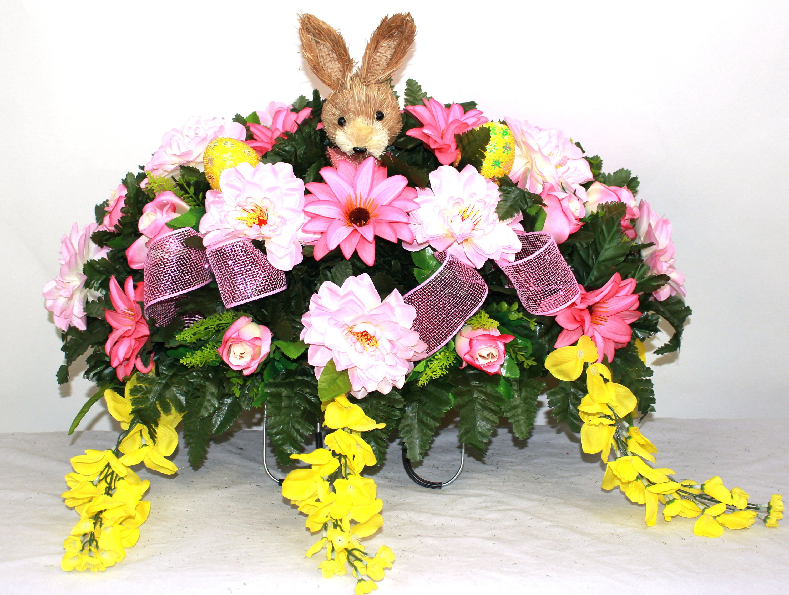 Beautiful XL Spring Peonies and Spider Mums Cemetery Saddle Flower Arrangement /…