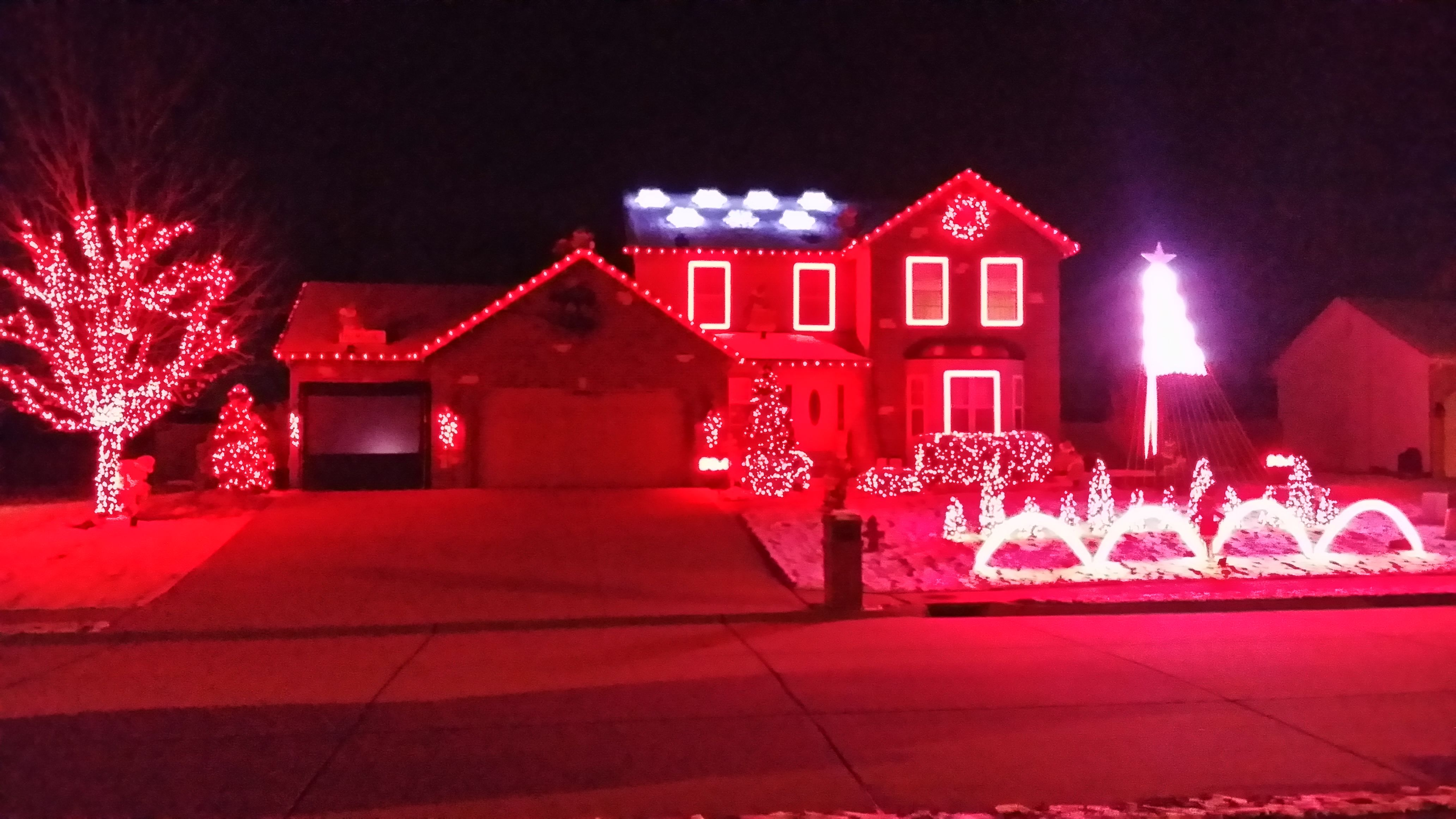 Super red outdoor christmas lights display this is actually a super red outdoor christmas lights display this is actually a sequence of colors photographed by mozeypictures Choice Image