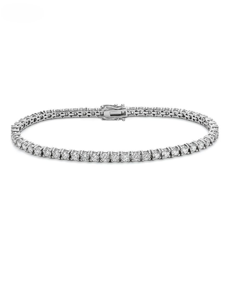 Shimmer In The Elegant Beauty Of This Round Shape Diamond Tennis Bracelet 4 Ct T W Excep Sparkly Bracelets Tennis Bracelet Diamond Diamond Necklace Designs
